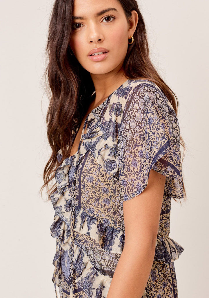 [Color: Navy/Sky] Lovestitch navy/sky floral paisley printed, flutter sleeve maxi dress with tiered, ruffled detail.