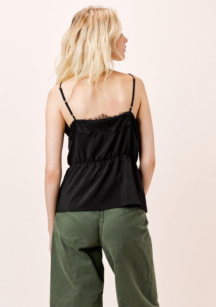 [Color: Black] Lovestitch black cami with eyelash lace trim and shirred, elastic waist.