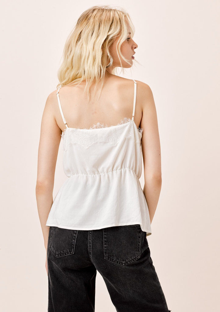 [Color: Ivory] Lovestitch ivory cami with eyelash lace trim and shirred, elastic waist.