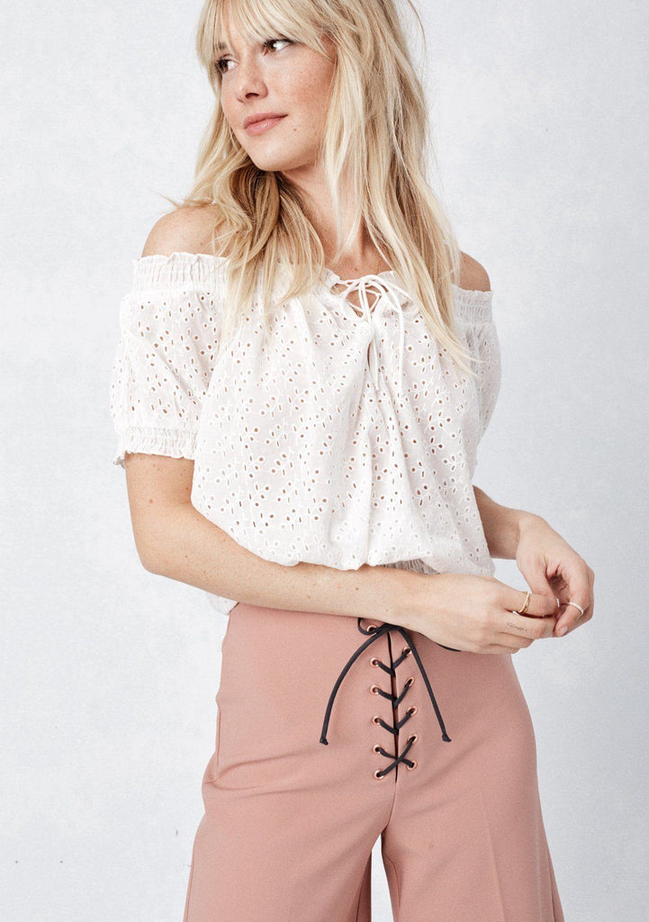 Eyelet Off The Shoulder Top Lovestitch Casual Tops Blouses
