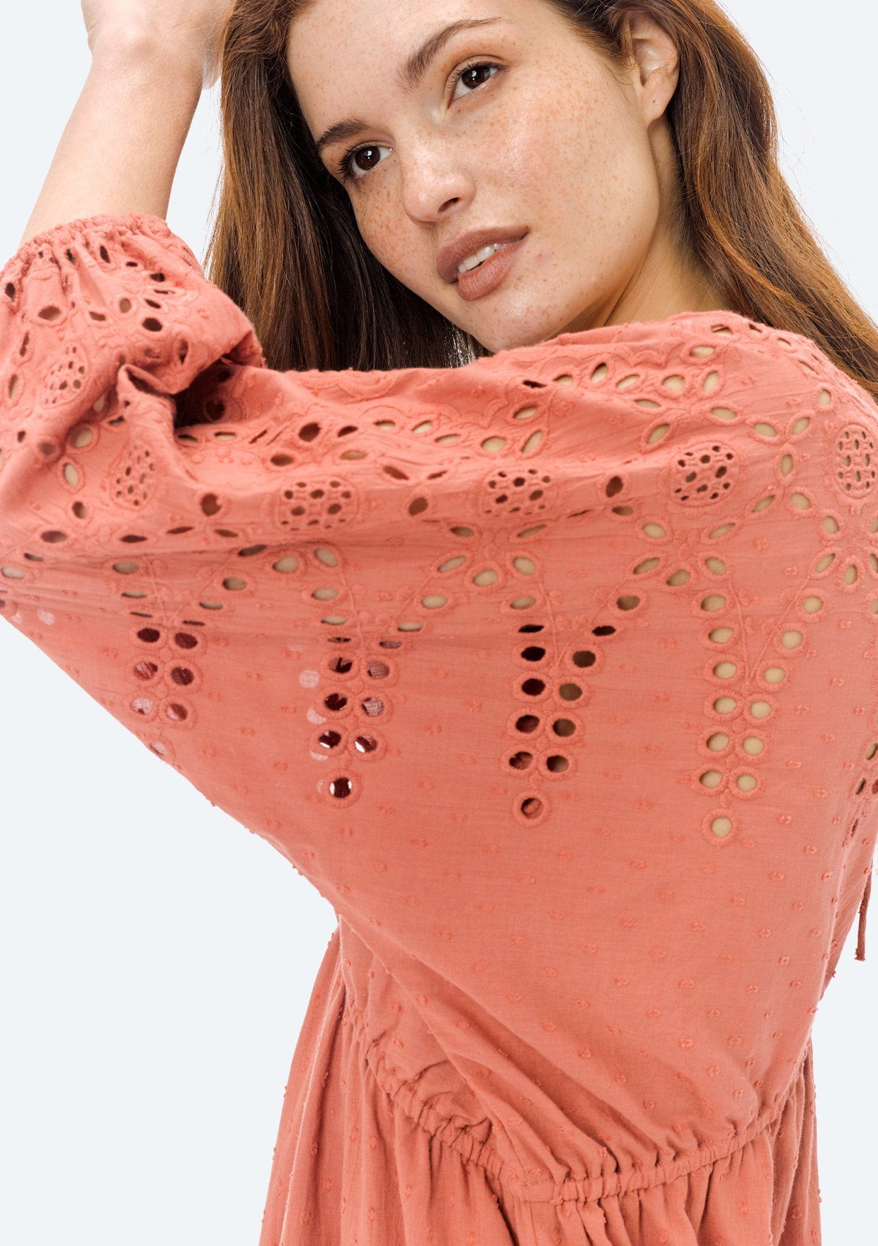 [Color: Terracotta] Lovestitch cotton, swiss dot mini dress with embroidered eyelet sleeves.