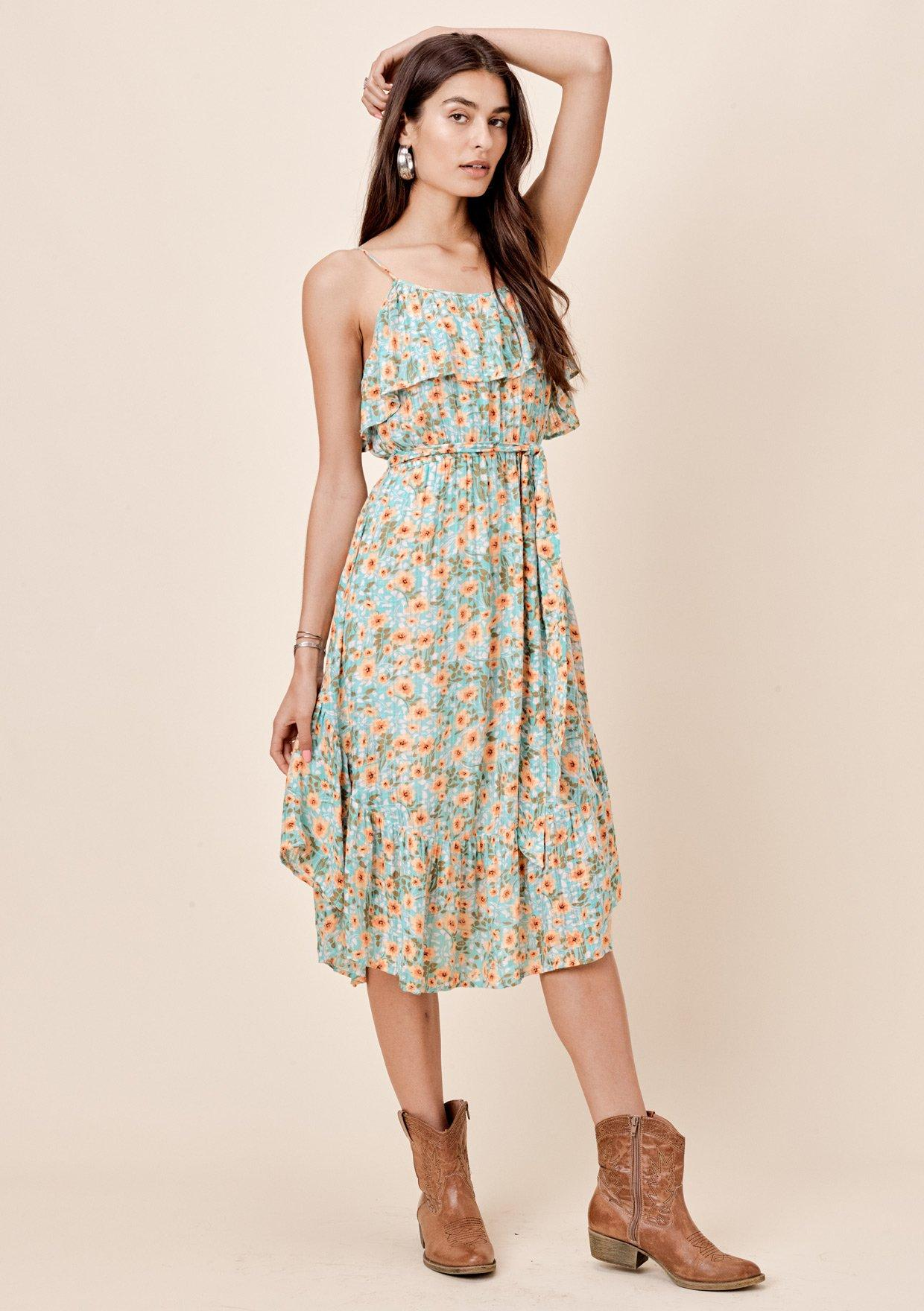 [Color: Aqua/Peach] Lovestitch floral printed midi dress with flounce top, self belt and ruffled bottom.