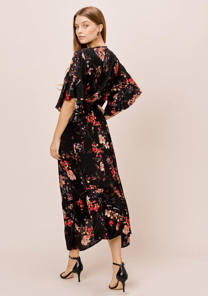 [Color: Black/Clay] Lovestitch Floral boho printed maxi dress with angel ruffled sleeve and tie front detail.