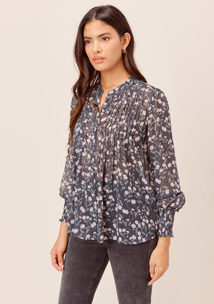 Devon Floral Pleated Chiffon Top