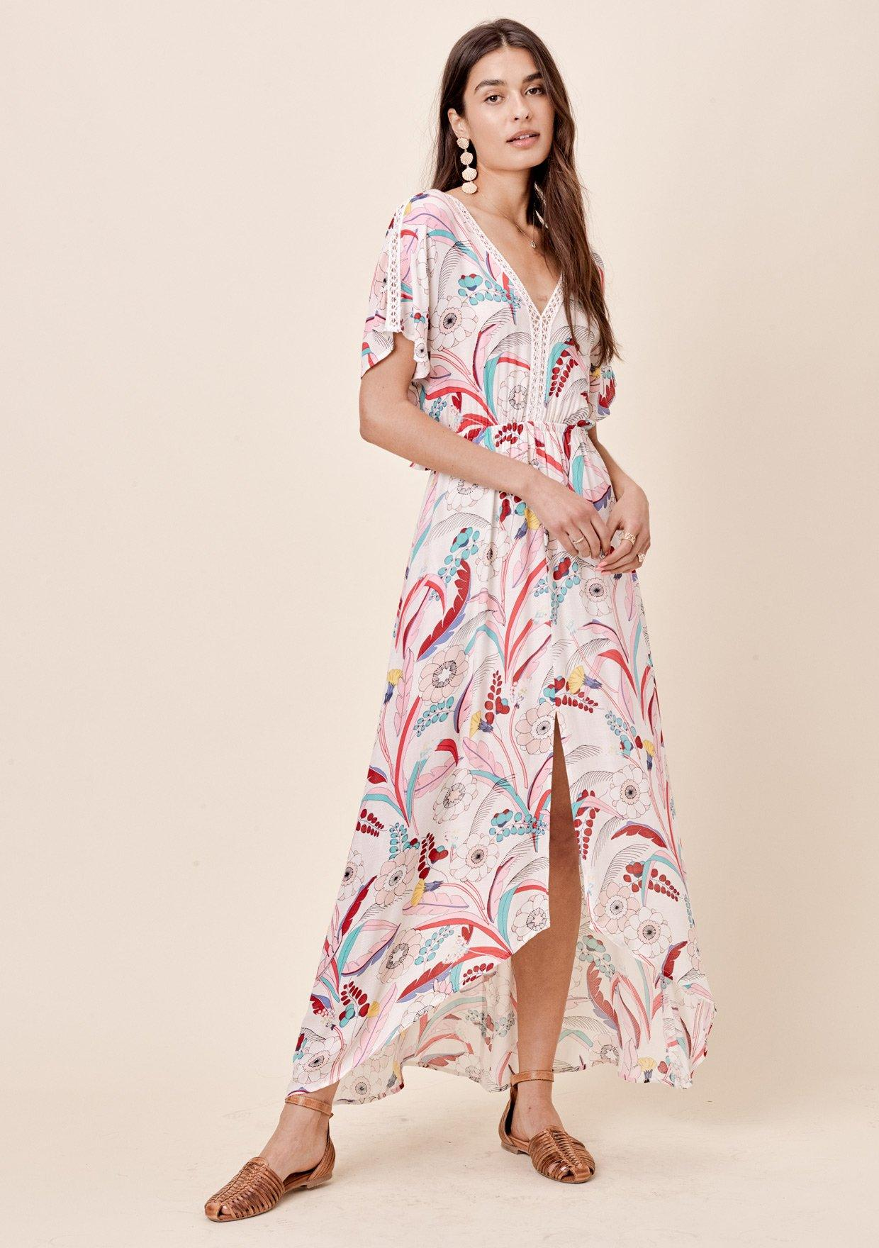 [Color: Taupe/Pink] Lovestitch whimsical floral printed maxi dress with crochet lace insets and tie back.