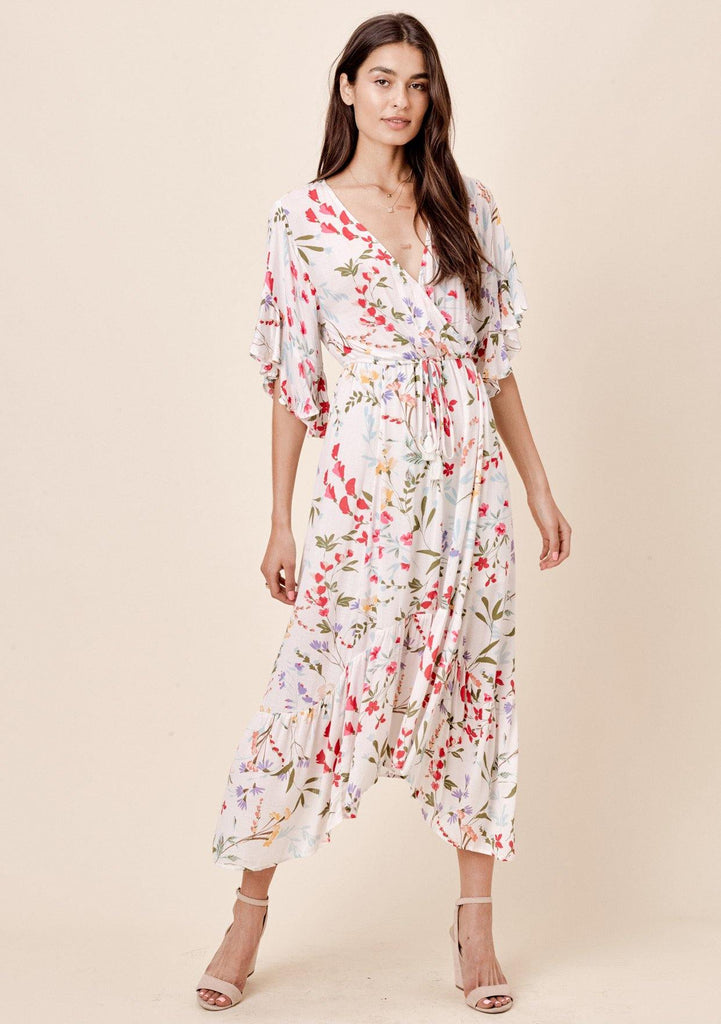 214e4619ca [Color: Vanilla Floral] Lovestitch white floral printed maxi dress with  angled, ruffled