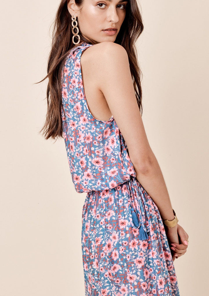 [Color: Slate/Pink] Lovestitch sleeveless, floral printed midi dress with ruffle neck detail and tie front detail.