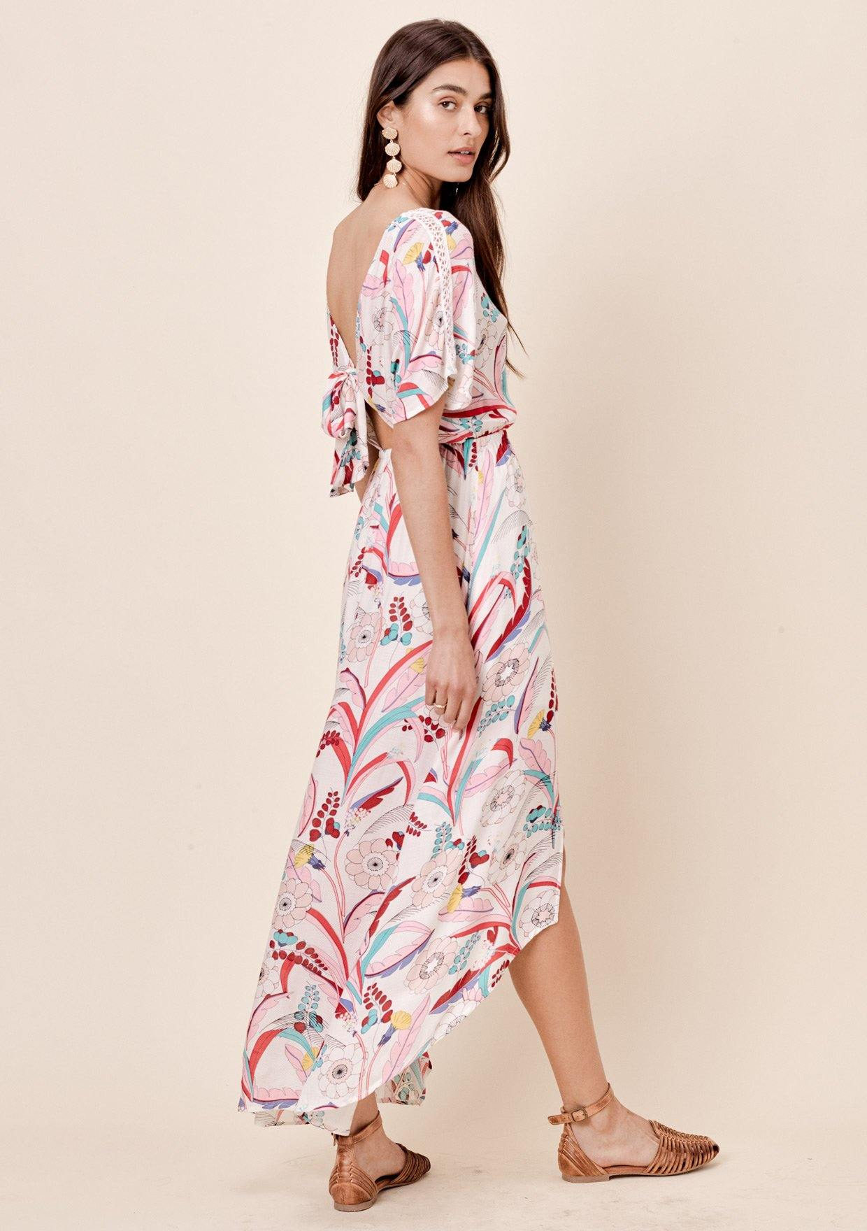 d0a7f36b06 ... [Color: Taupe/Pink] Lovestitch whimsical floral printed maxi dress with  crochet lace ...