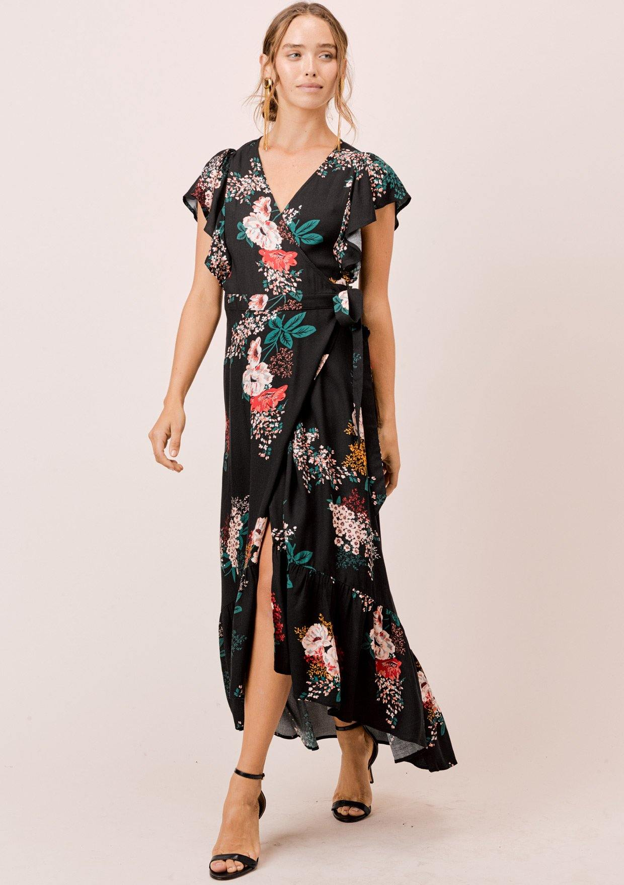 [Color: Black] Lovestitch black floral printed, flutter sleeve, wrap maxi dress.