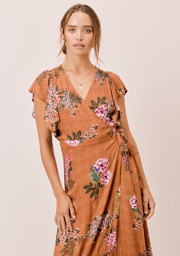 [Color: Saddle] Lovestitch saddle brown floral printed, flutter sleeve, wrap maxi dress.