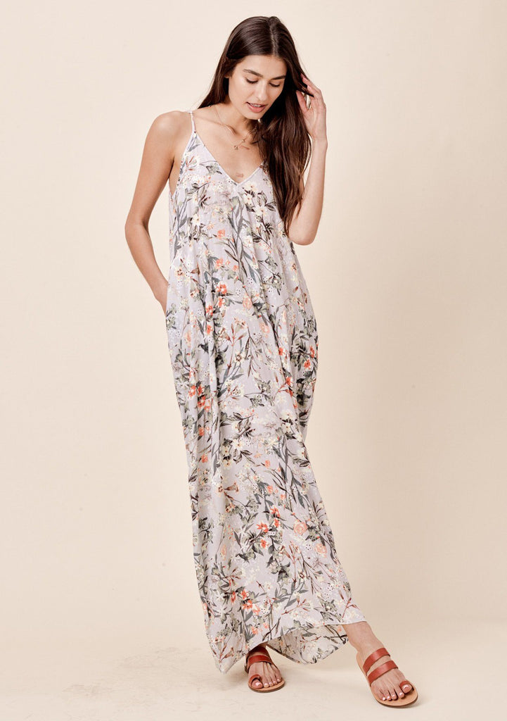[Color: Grey Floral] Lovestitch grey, billowy, floral printed, cocoon maxi dress with side pockets and embroidered eyelet detail.