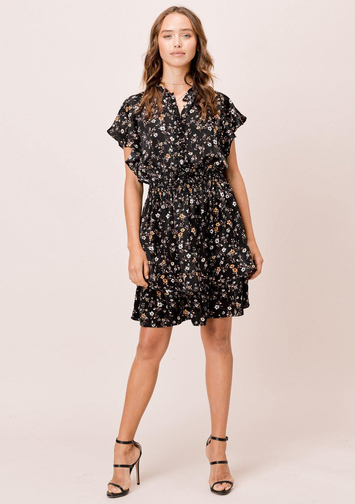 [Color: Black] Lovestitch Black Floral Printed Mini Dress with Flutter Sleeves and Buttoned Top