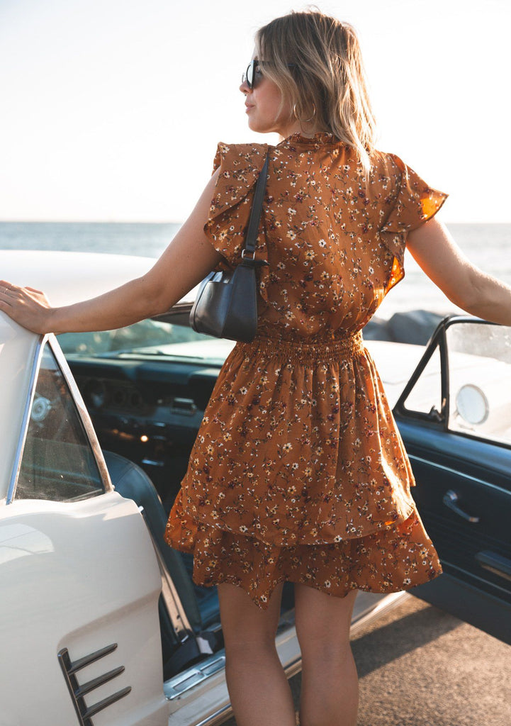 [Color: Caramel] Lovestitch Caramel Floral Printed Mini Dress with Flutter Sleeves and Buttoned Top