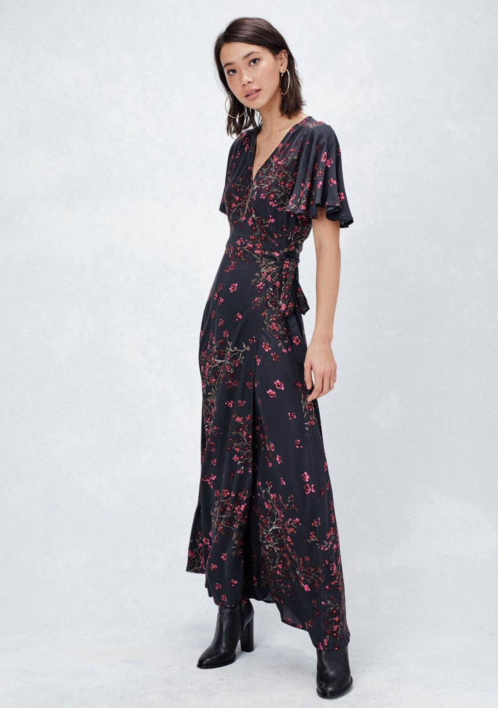[Color: Burgundy/Black] Lovestitch black and red, floral printed, flutter sleeve wrap dress featuring side tie closure and gorgeous, elegant silhouette.