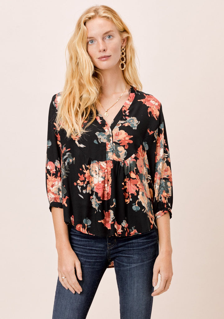 [Color: Black/Rust] Lovestitch Black/Rust Floral Bib Henley Top