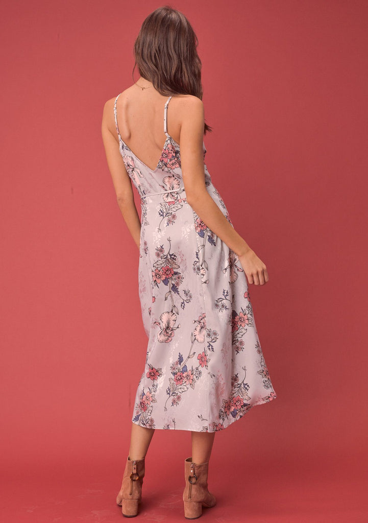 [Color: Stone/Rose] Lovestitch silken, beautiful, floral jacquard wrap dress.