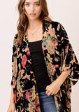 [Color: Black Multi] Lovestitch black multi floral kimono with fringe.