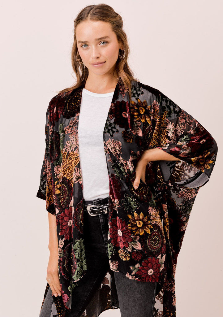 [Color: Floral] Lovestitch floral burnout kimono with side slits