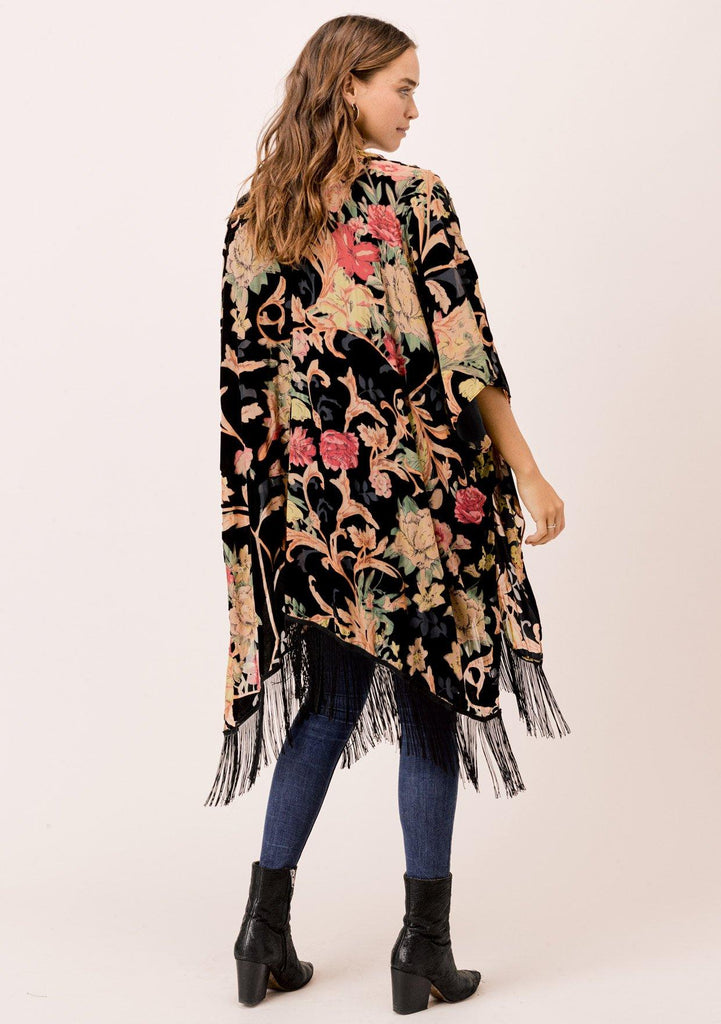 [Color: Black Multi] Lovestitch sheer black burnout velvet kimono with long fringe hemline & billowy flattering silhouette