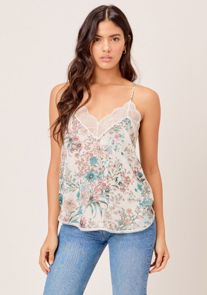 [Color: Ivory/Orchid/Peach] Lovestitch ultra feminine silken slip camisole with delicate lace trim