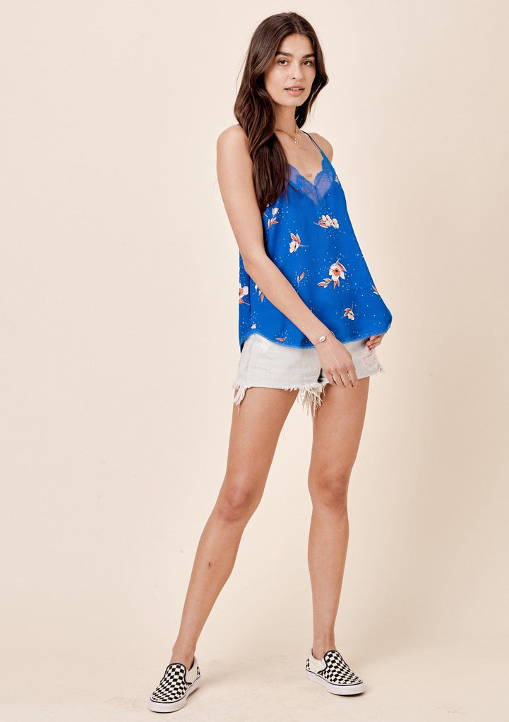 [Color: Cornflower Blue] Lovestitch silken, floral printed, lace trimmed cami