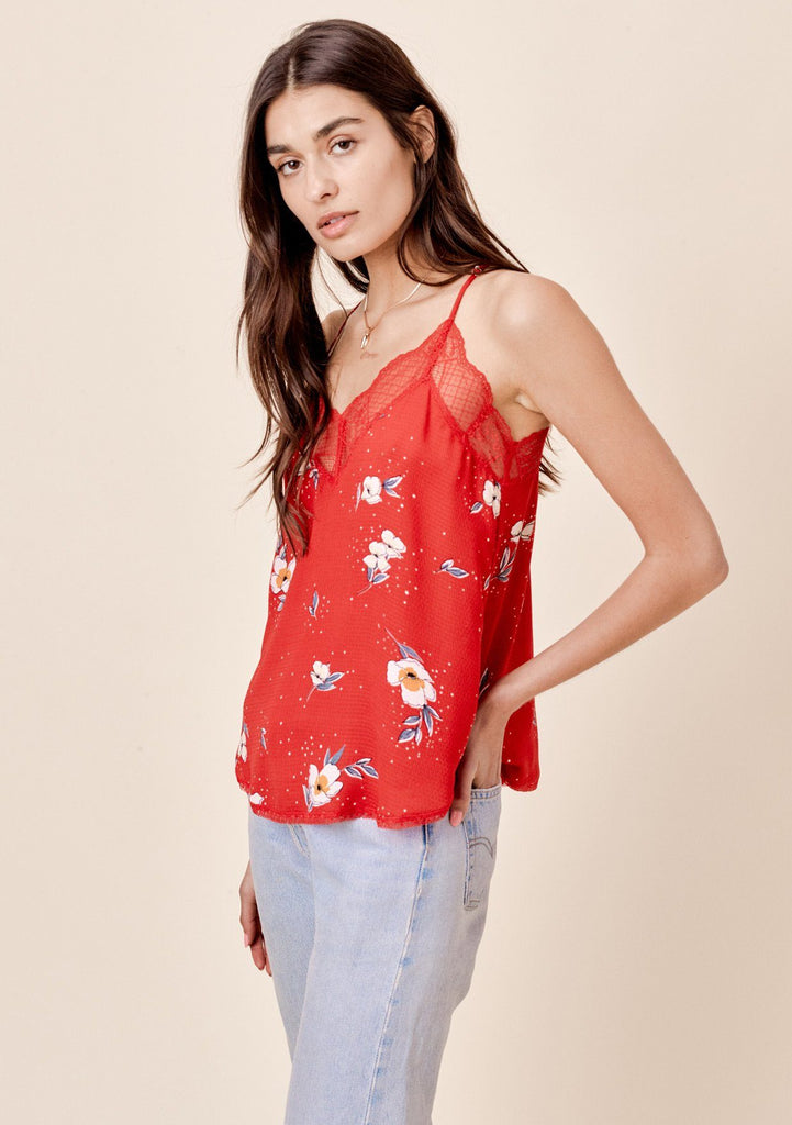 [Color: Tomato] Lovestitch silken, floral printed, lace trimmed cami
