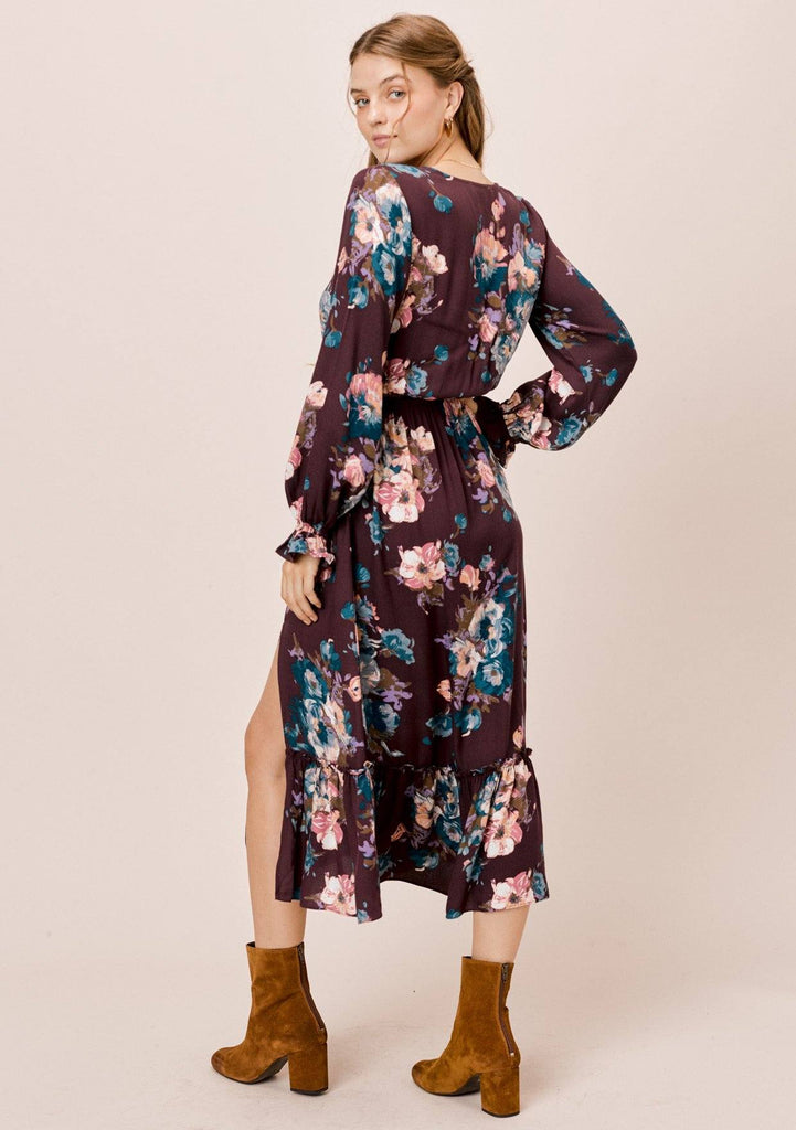 [Color: Vintage/Raisin] Lovestitch long sleeve, floral dress with ruffled cuffs, buttoned top and front slit.