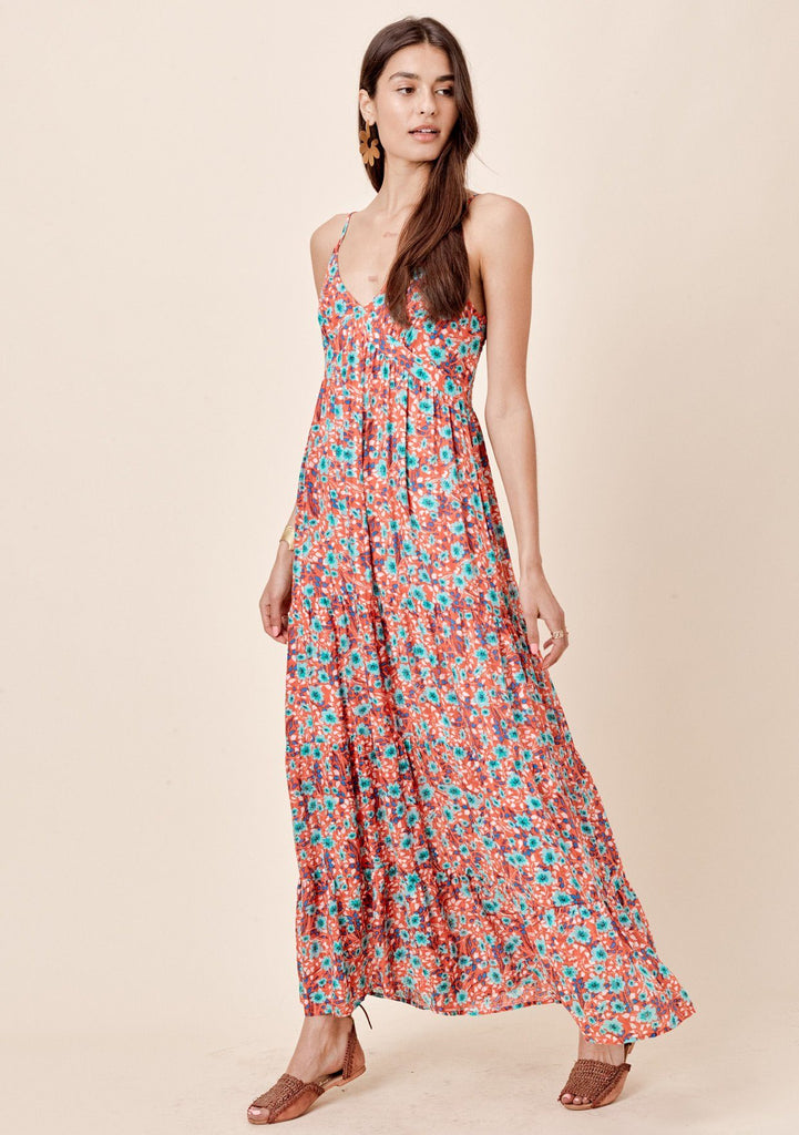 [Color: Coral/Turquoise] Lovestitch sleeveless, vintage floral printed, tiered maxi dress.