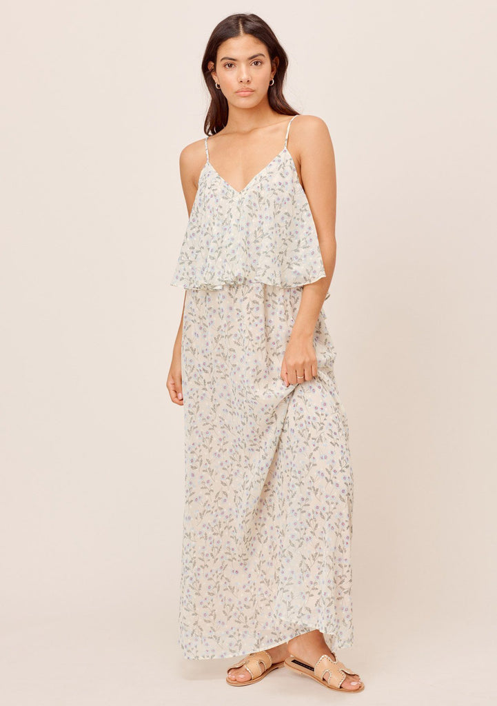 [Color: Cream/Sky] Lovestitch cream/sky floral flounce maxi dress