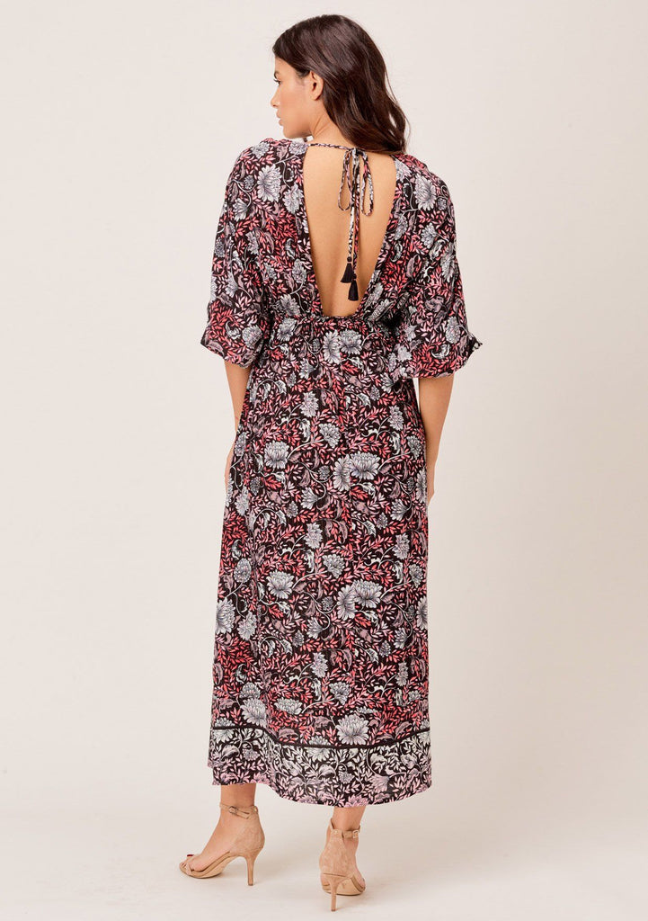 [Color: Black/Rose] Lovestitch Floral printed, V-neck maxi dress with volume sleeves and smocked waist.