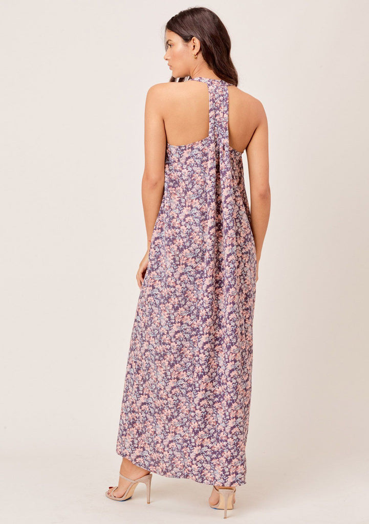 [Color: Charcoal/Peach] Lovestitch charcoal/peach Floral printed, pleated racerback maxi dress with side pockets.