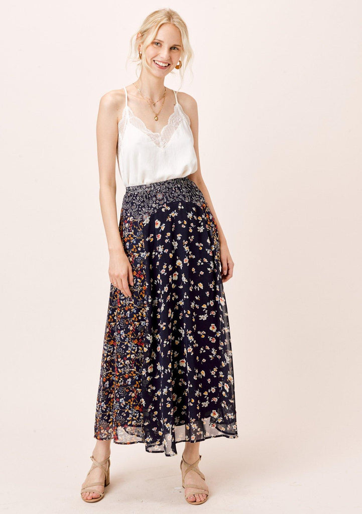 [Color: Midnight/Multi] Lovestitch mixed floral boho print maxi skirt