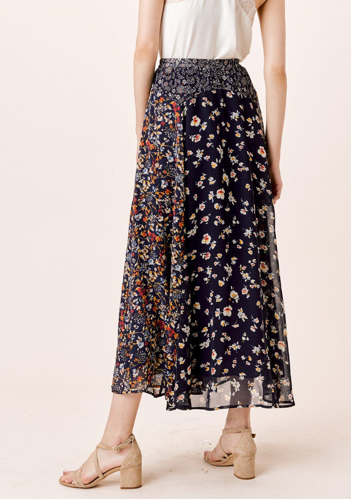 [Color: Midnight/Multi] Lovestitch mixed floral print maxi skirt