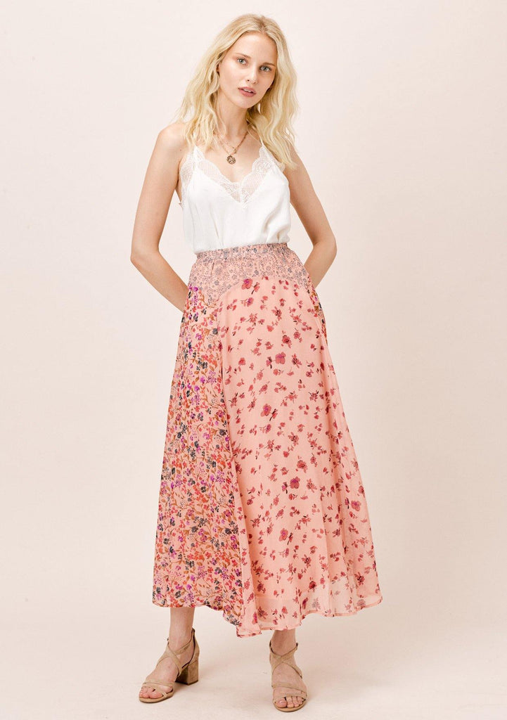 [Color: DesertRose/Multi] Lovestitch mixed floral print maxi skirt