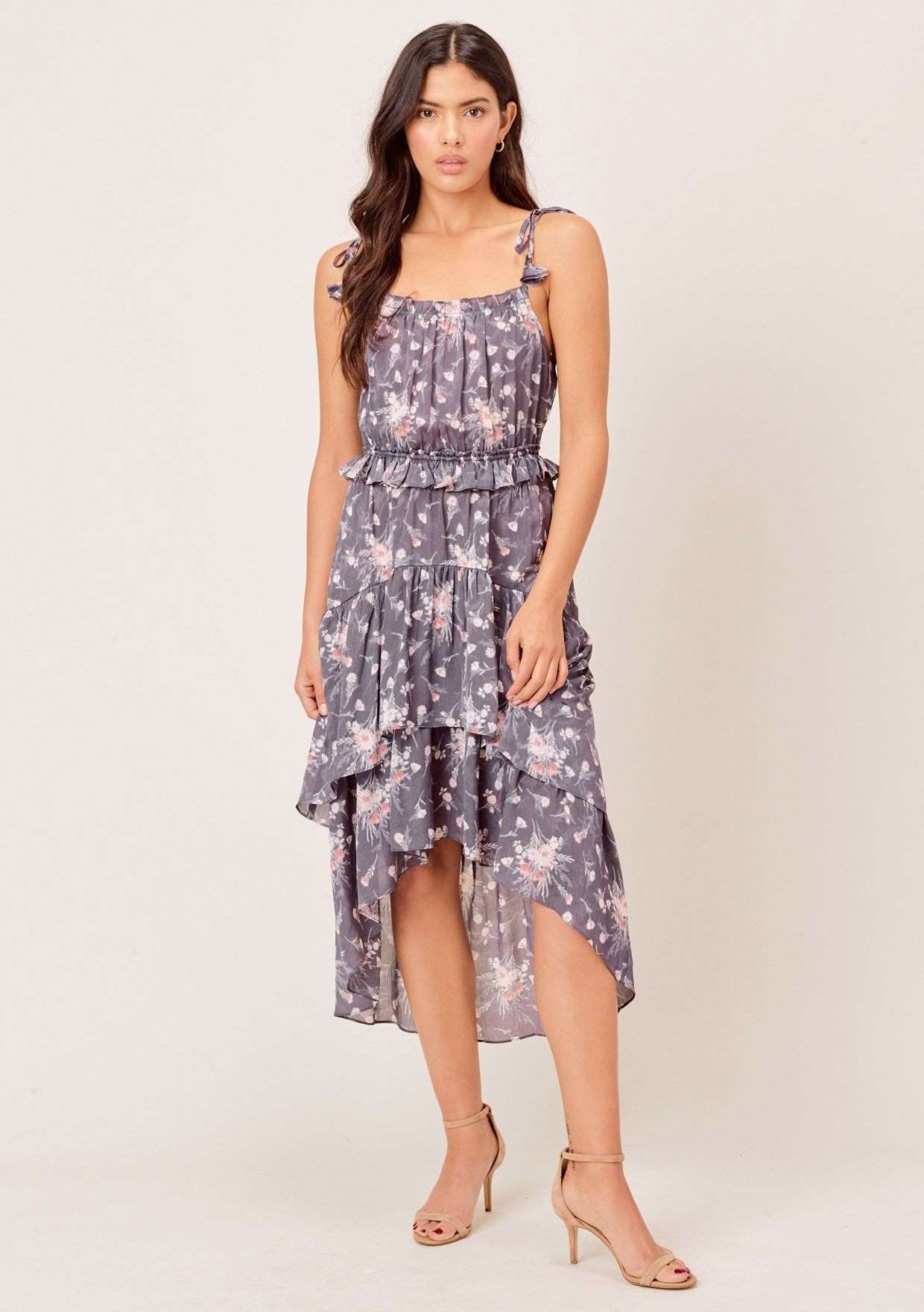 [Color: Charcoal/Mocha] Lovestitch charcoal/mocha floral printed, tiered high-low dress with tie straps & ruffled details.