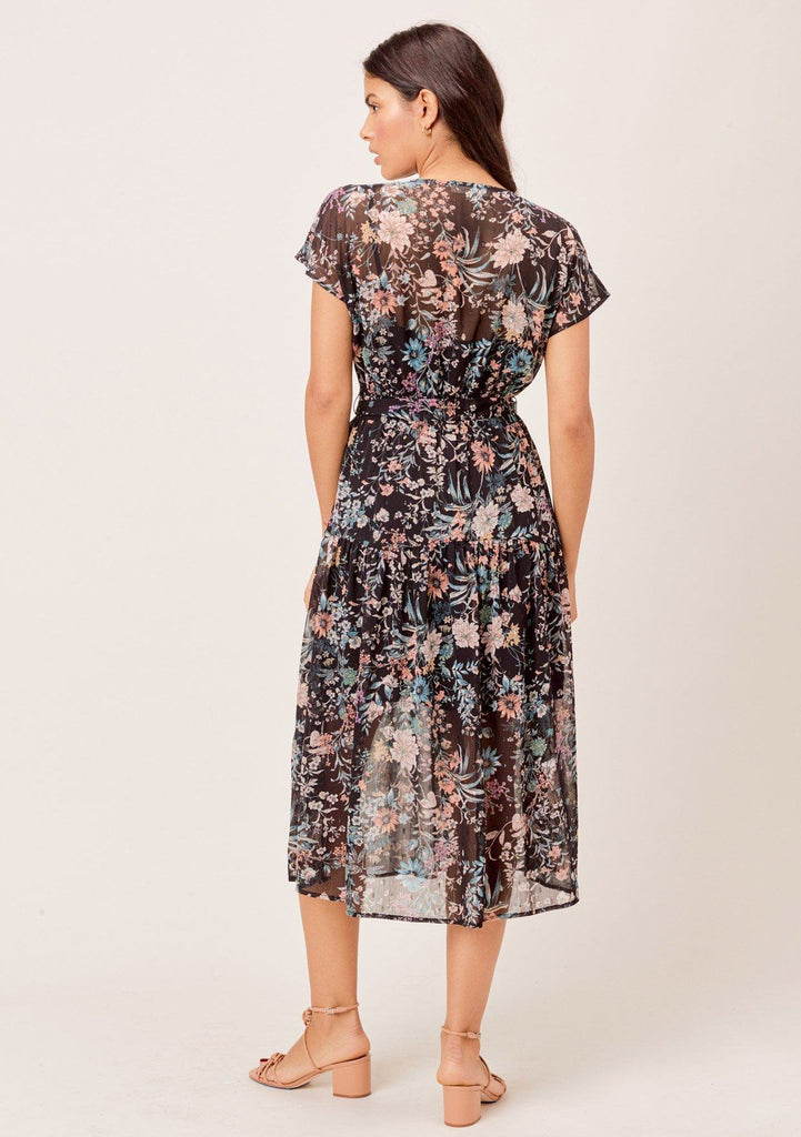 [Color: Black/Apricot/Blue] Lovestitch Floral printed, short sleeve, split front, belted maxi with pleated detail.