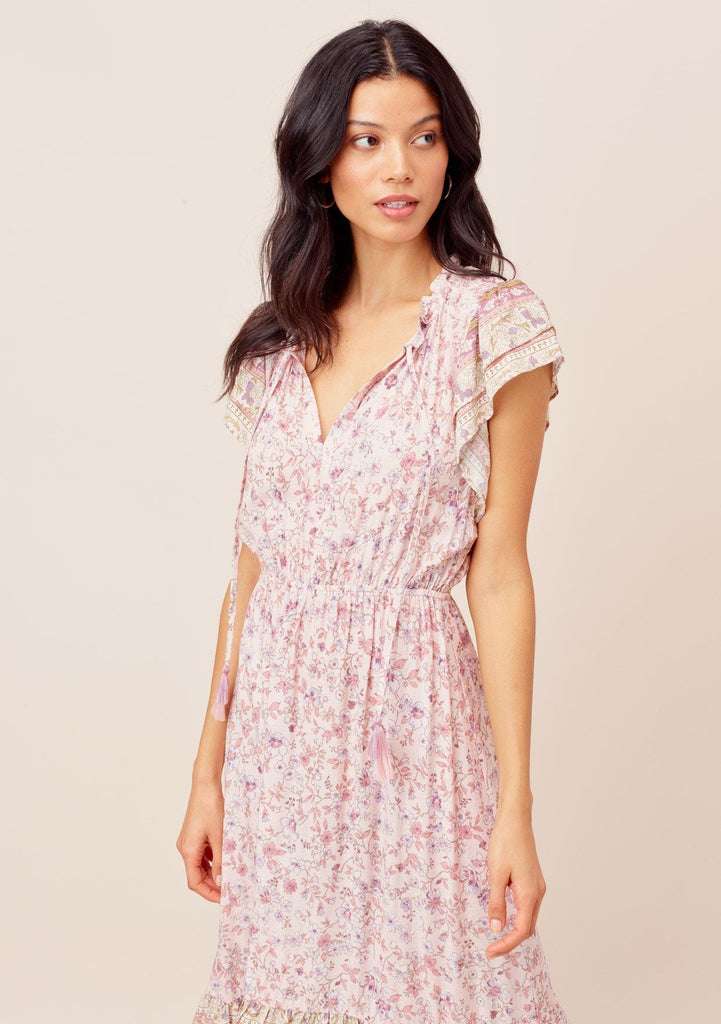 [Color: Blush/Lavender] Lovestitch Feminine, mixed floral print, flutter sleeve dress with high-low hem and tassel tie neck.