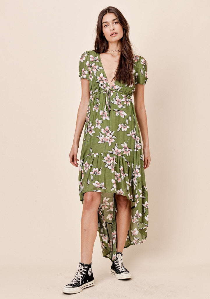 [Color: Leaf Green] Lovestitch green floral printed, short sleeve, high-low maxi with empire waist tie detail.