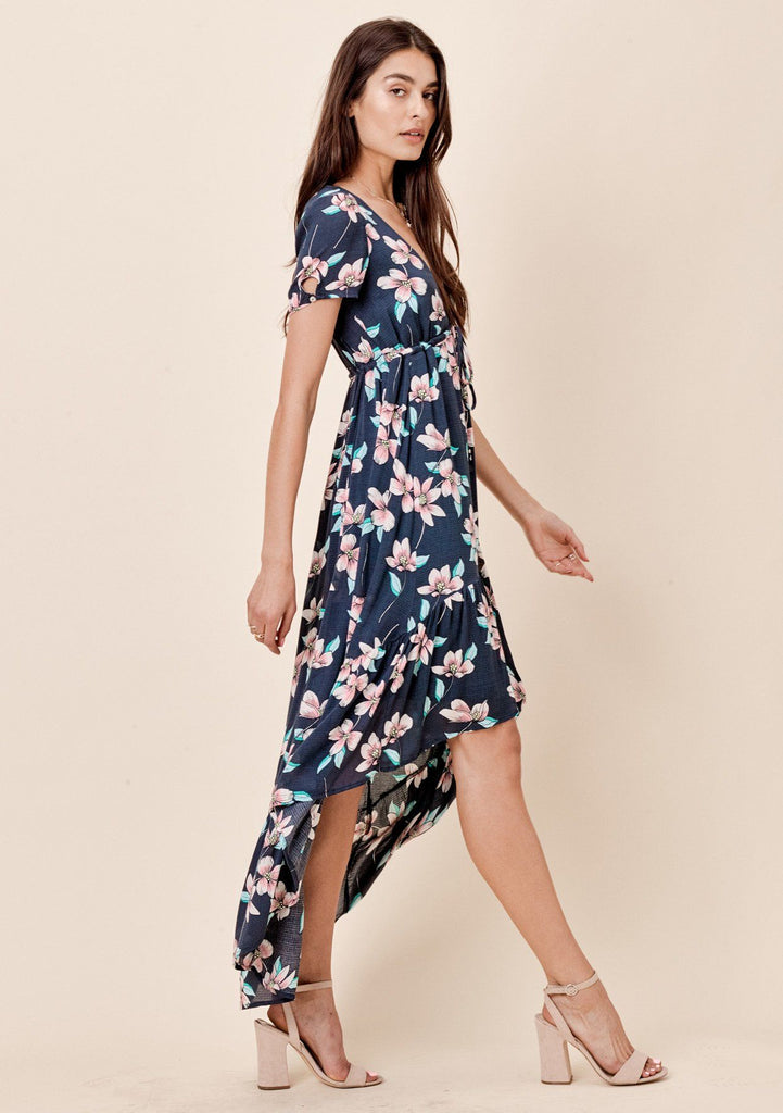 [Color: Midnight] Lovestitch midnight blue floral printed, short sleeve, high-low maxi with empire waist tie detail.