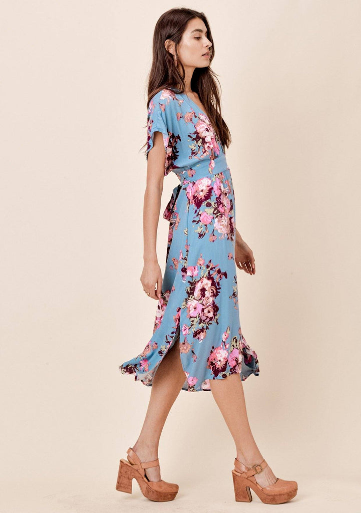 [Color: Blue/Lilac] Lovestitch Blue brush stroke floral printed, tie-back midi dress with empire waist.