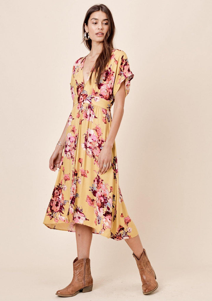 [Color: Mustard/Plum] Lovestitch Mustard brush stroke floral printed, tie-back midi dress with empire waist.