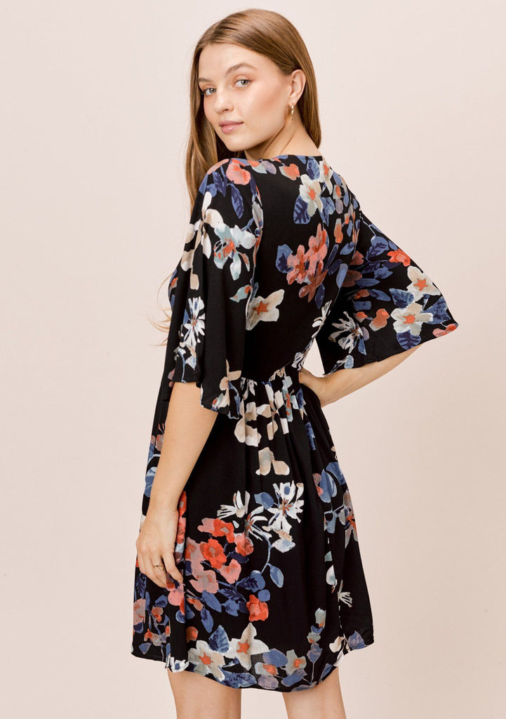 [Color: Black/Rust/Cornflower] Lovestitch black floral printed, empire waist, mini dress