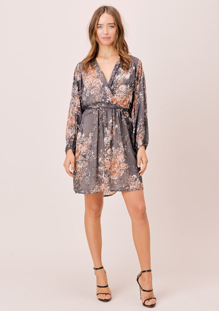 [Color: Grey/Blue/Taupe] Lovestitch beautiful and elegant purple grey floral mini dress with long volume sleeves and a plunging v-neckline. Cute and flattering mini dress.