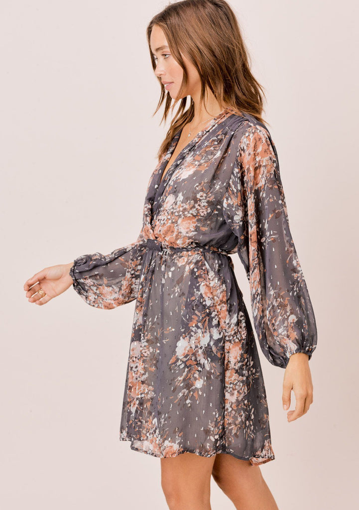 [Color: Grey/Blue/Taupe] Lovestitch beautiful and elegant purple grey floral mini dress with long volume sleeves and a plunging v-neckline. Cute and flattering special occasion mini dress