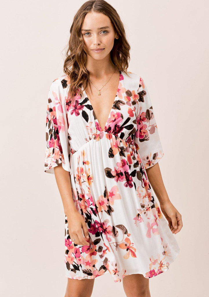 [Color: Ivory/DesertRose/Coco] Lovestitch Ivory floral printed, empire waist mini dress