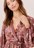 [Color: DustyMauve/Rust/Lavender] Lovestitch dusty mauve/rust/lavender floral printed, volume sleeve, deep V-neckline mini dress