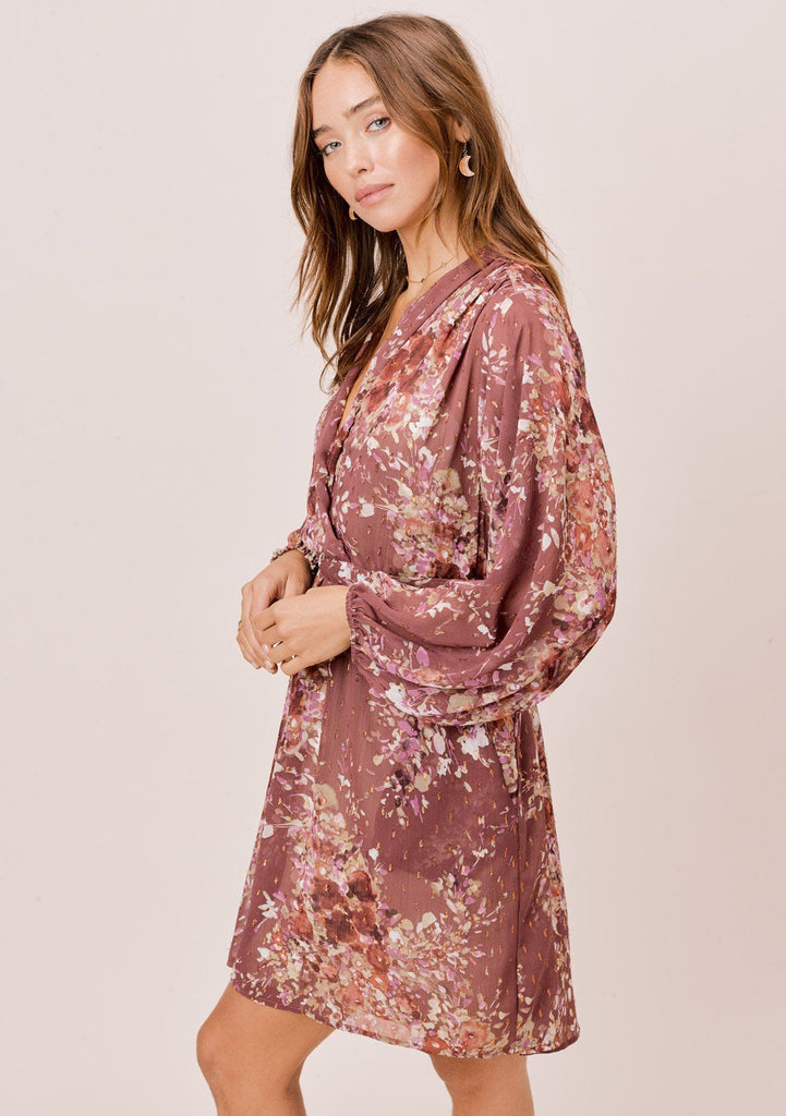 [Color: DustyMauve/Rust/Lavender] Lovestitch blush pink floral mini dress with long volume sleeves, deep v-neckline and slightly sheer fabrication. A perfect dress for working from home.