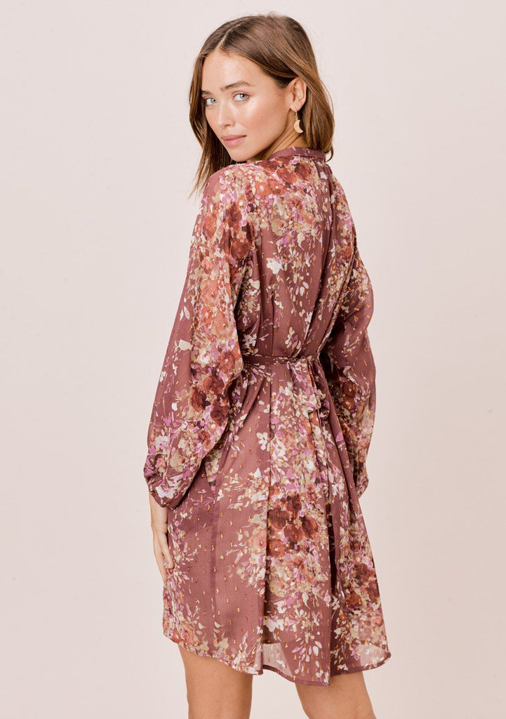 [Color: DustyMauve/Rust/Lavender] Lovestitch mauve pink mini dress with beautiful floral print, long volume sleeves, flattering smocked waist and wrap front V-neckline