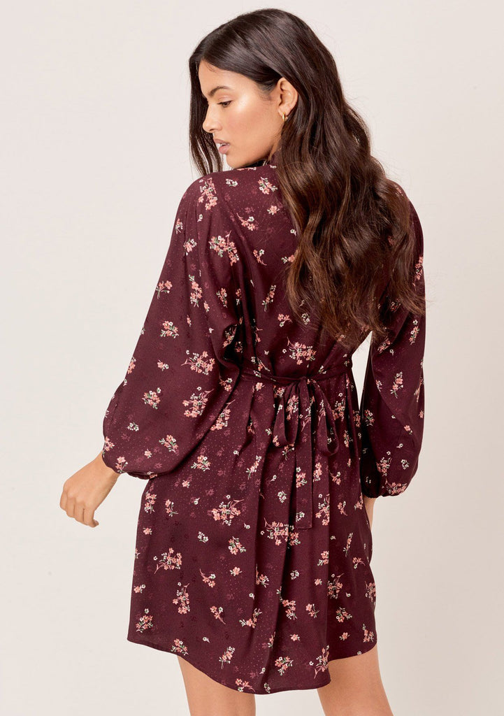 [Color: Merlot/Rose] Lovestitch merlot/rose vintage floral printed mini dress with deep V-neckline and volume sleeves
