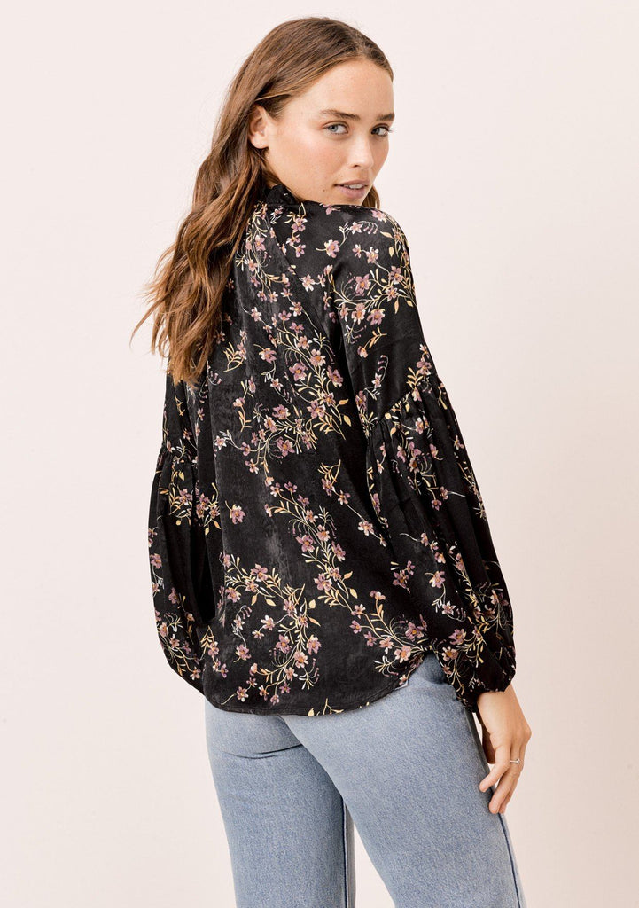 [Color: Black] Lovestitch floral printed, long sleeve top with ruffled neck detail and tie neck detail